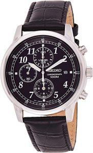 Seiko Men's Classic Black Chronograph Dial Watch (SNDC33)